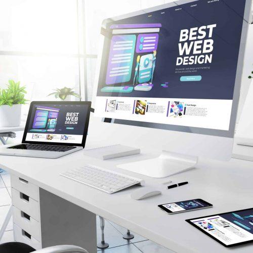 office responsive devices design website 3d rendering